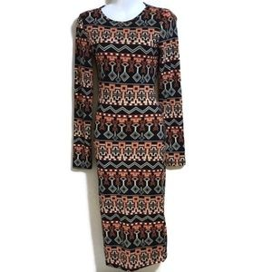 Long Sleeve Printed Bodycon Dress F0111